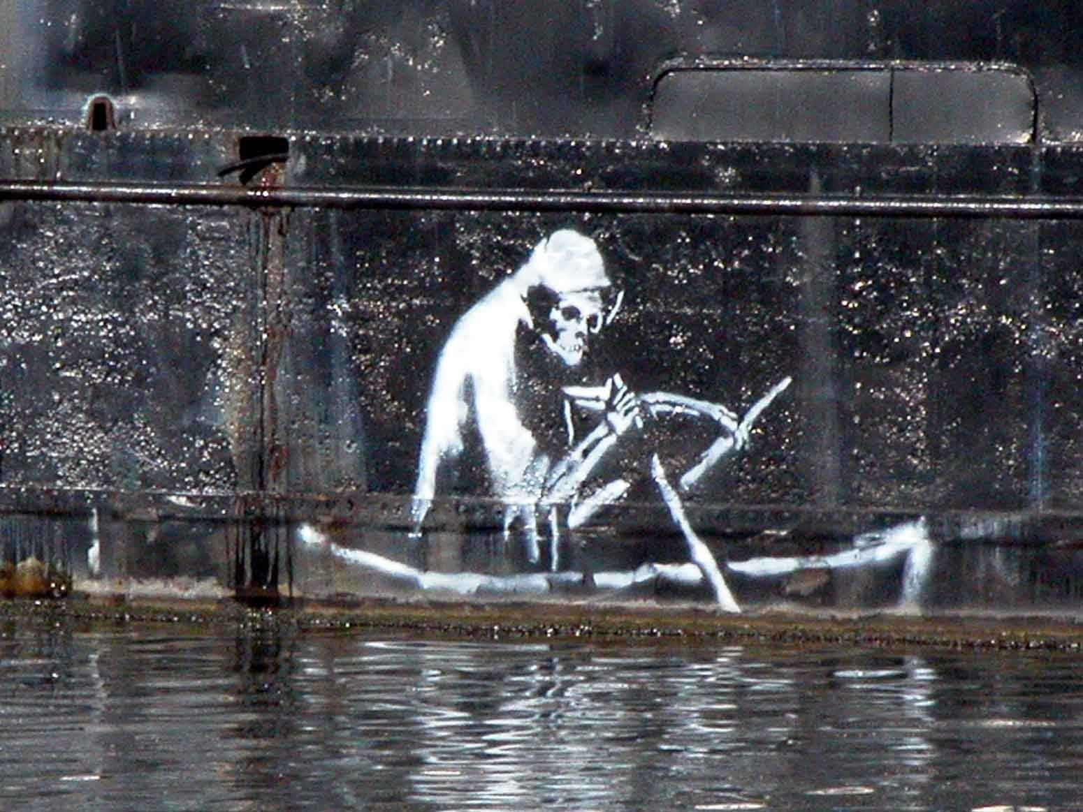 banksy bristol river graffiti