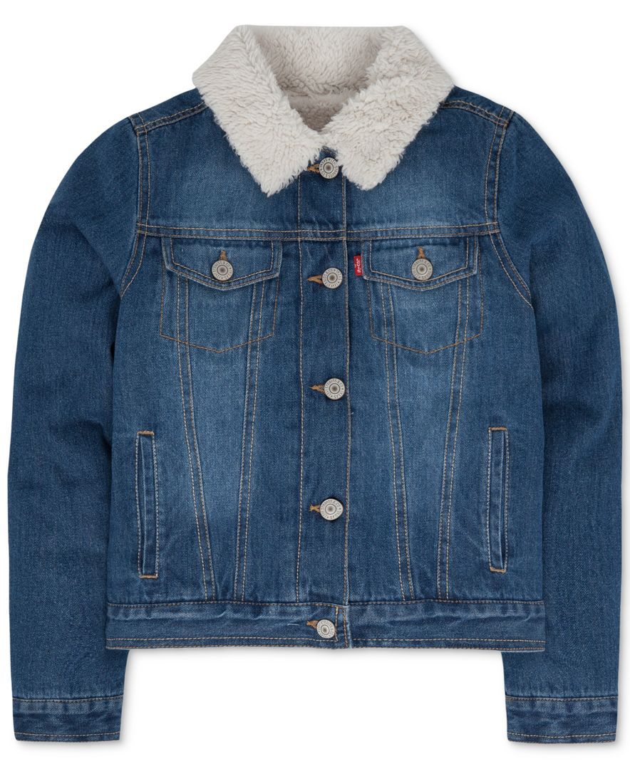 Keep Her Warm And Cozy With The Stylish Look Of Classic Denim With This Faux Fur Lined Jean Jacket From Levi S De Denim Jacket With Fur Denim Jacket Jackets [ 1080 x 884 Pixel ]
