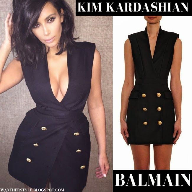 fcf3c915c11 Kim Kardashian in black sleeveless blazer dress with gold buttons ...