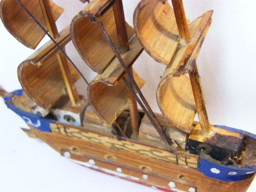 Vintage Toys - Small handmade wooden ship - some small parts missing ...