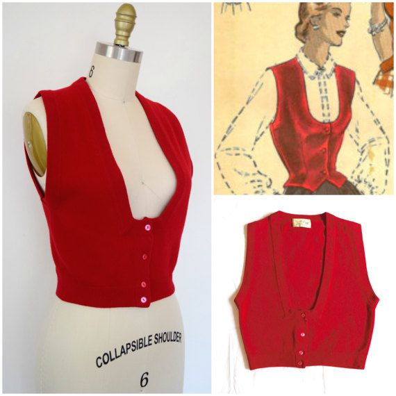 Look smart in this 1950s bright red sweater vest by America's ...