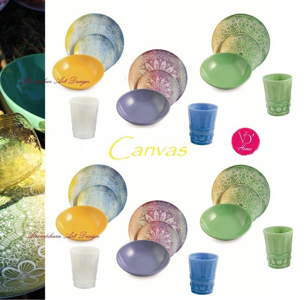 Villa d este servizio di piatti canvas 18 pz 6 bicchieri for Piatti e bicchieri colorati