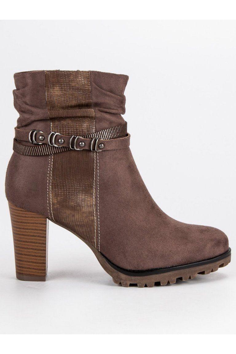 Štýlové topánky čižmy na vysokom stĺpovom opätku Super Mode ... 1bcde73bdc7