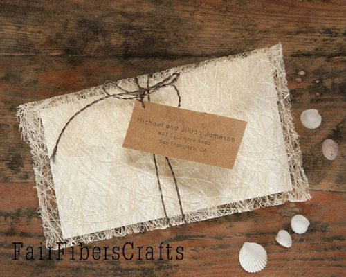 Handmade Abaca Beach Wedding Invitation Envelope Or Save The Date