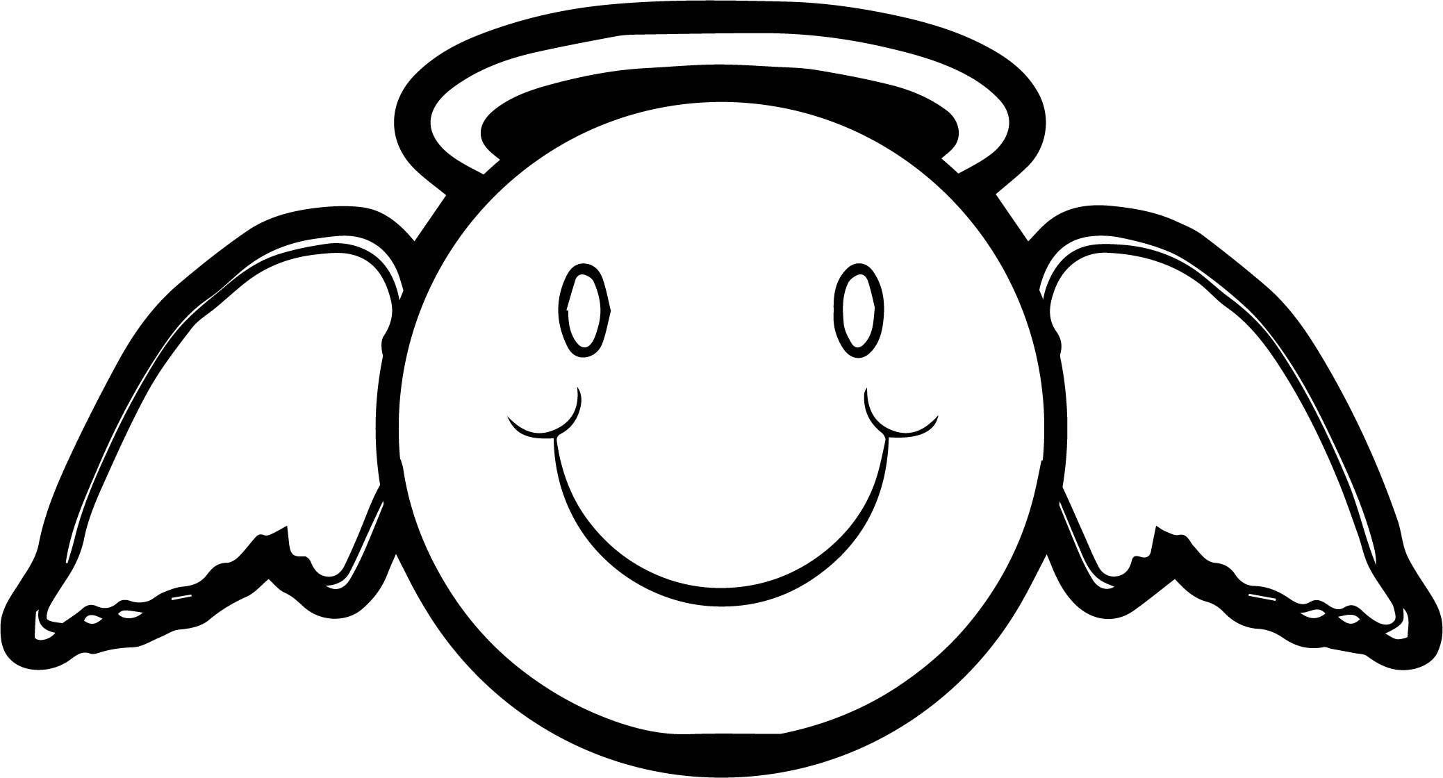 Cool Emology Smiley Emoticon Angel Man Coloring Page