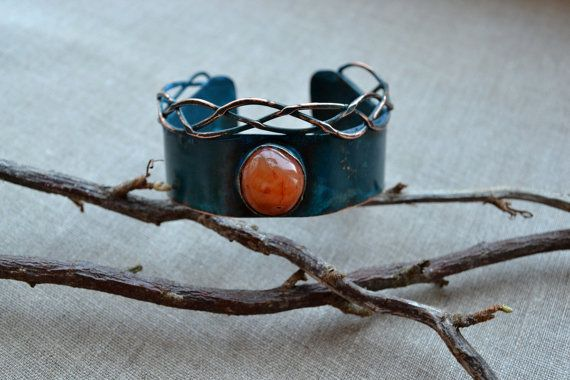 Bright bracelet with carnelian pigtails and blue от TanyaKolyada
