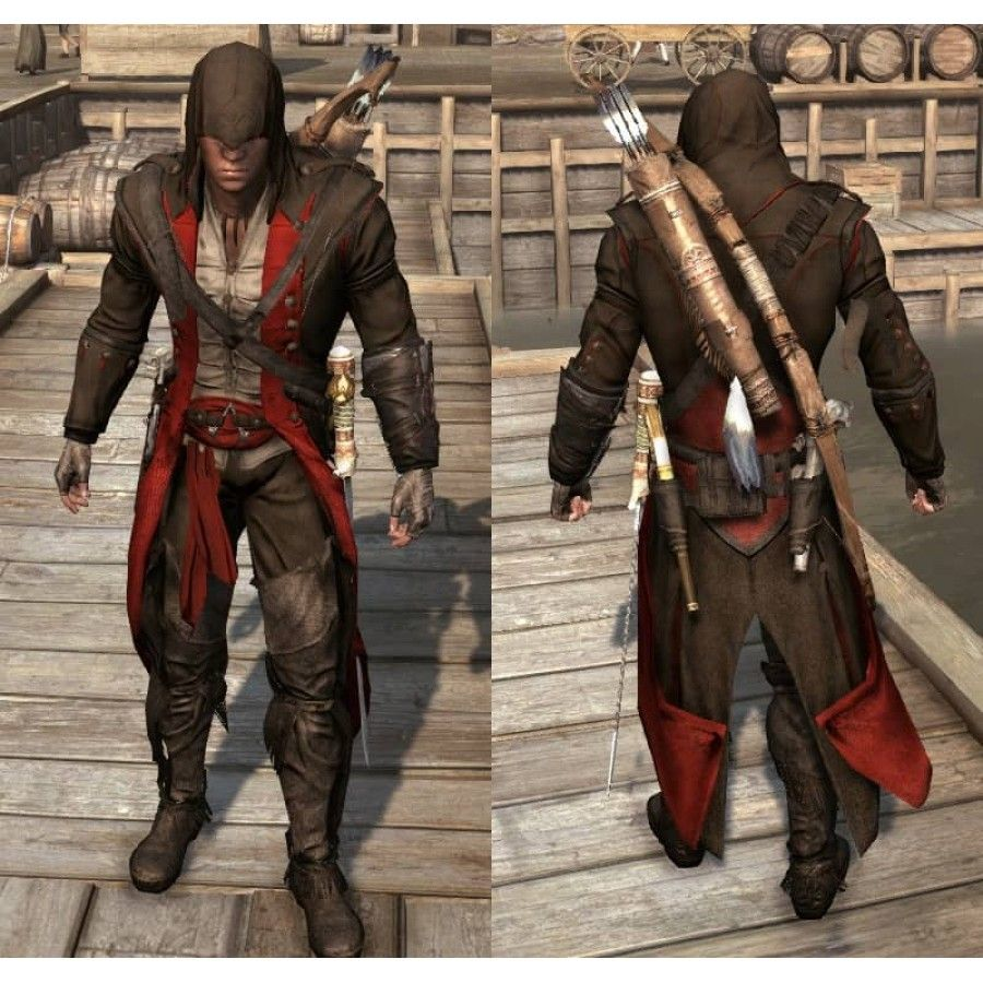 Assassin S Creed 3 Ratonhnhake Ton Black Red Assassin Outfit