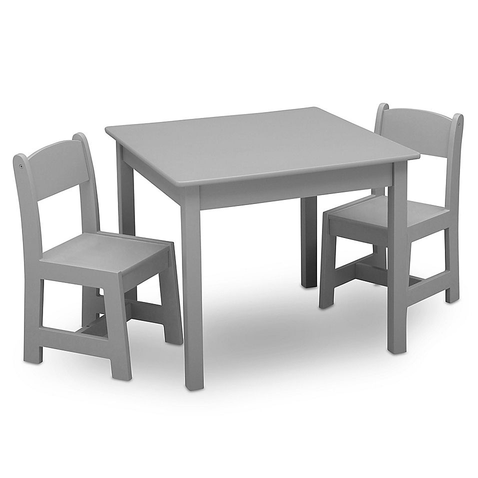 Delta Children Mysize 3 Piece Table And Chairs Set In Grey Table