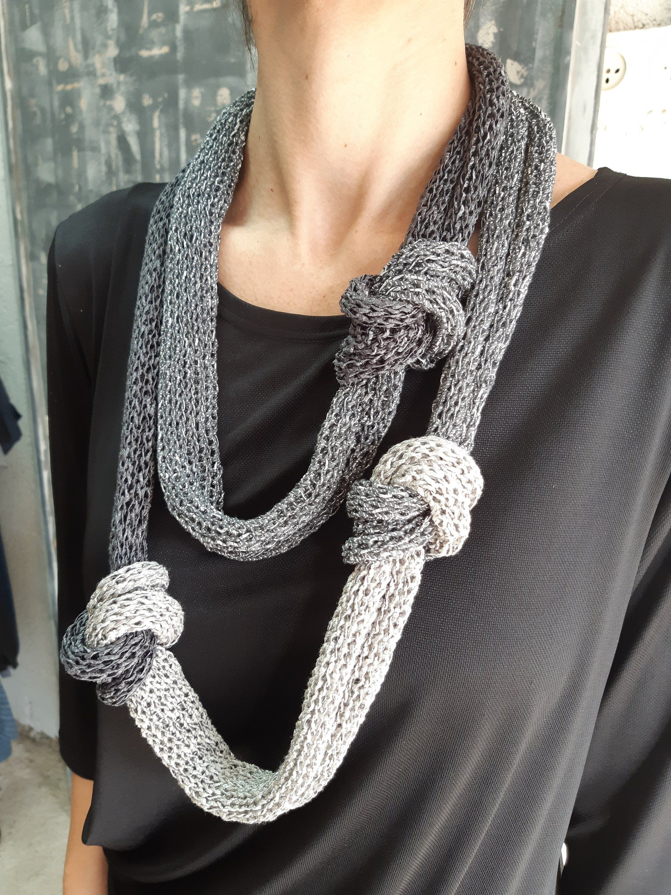 T shirt necklace,black and white color,Fabric necklace,Bib necklace textile necklace knot necklace
