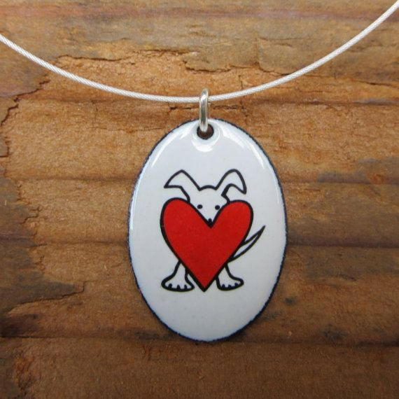 Peek-a-Dog Necklace White Pendant with Black and Red by marmar
