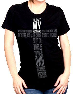 28de71b487d Amazon.com  NOTW Love Cross I Love My Husband Christian Ladies T-Shirt-small   Clothing