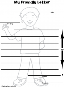 heres a friendly letter printable template and lesson plan this lesson plan includes a pre assessment optional read aloud ways to include handwriting