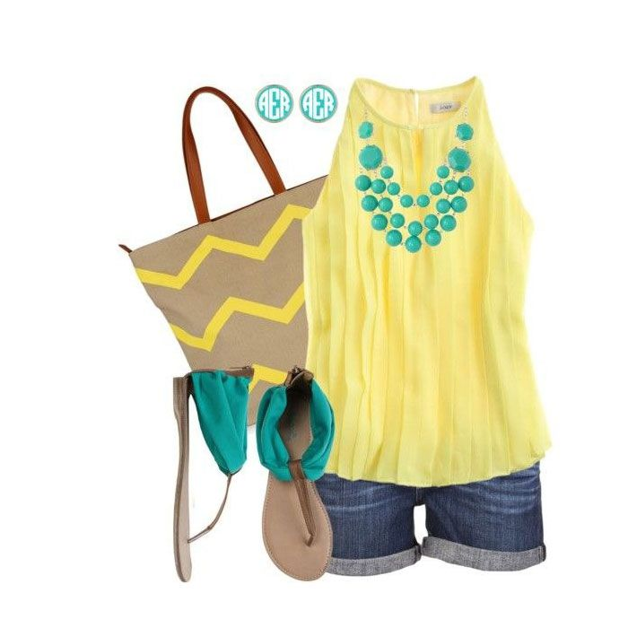 Yellow, great cut on shirt. Statement necklace.
