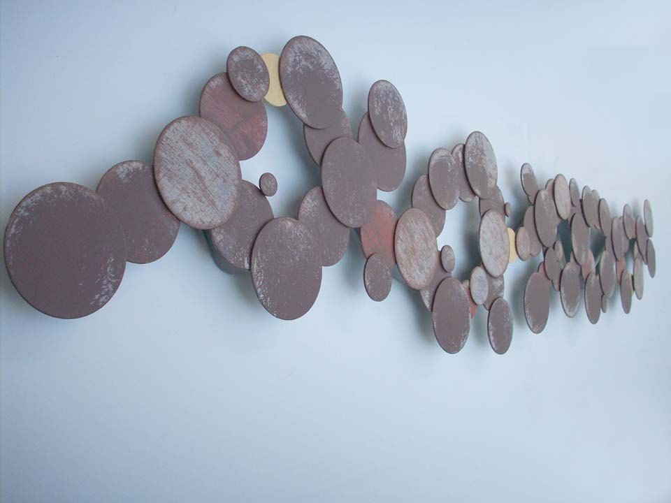 Long Metal Wall Art Circles In Steellong Abstract Metal Wall Art Sculpturedark