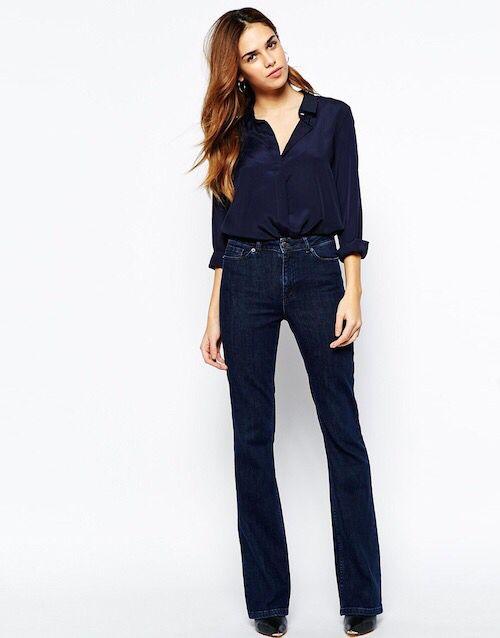 High waist flair jeans.