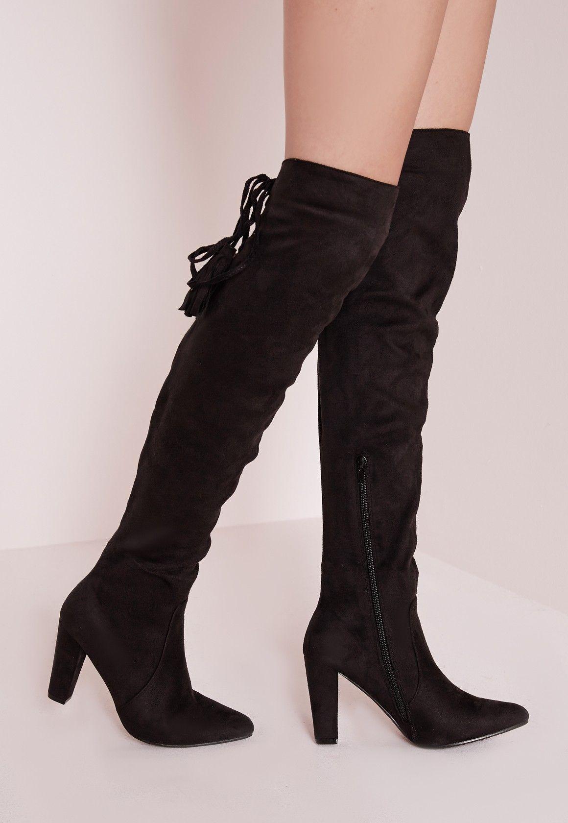 missguided - cuissardes noires à talons avec lacets arrière | mode