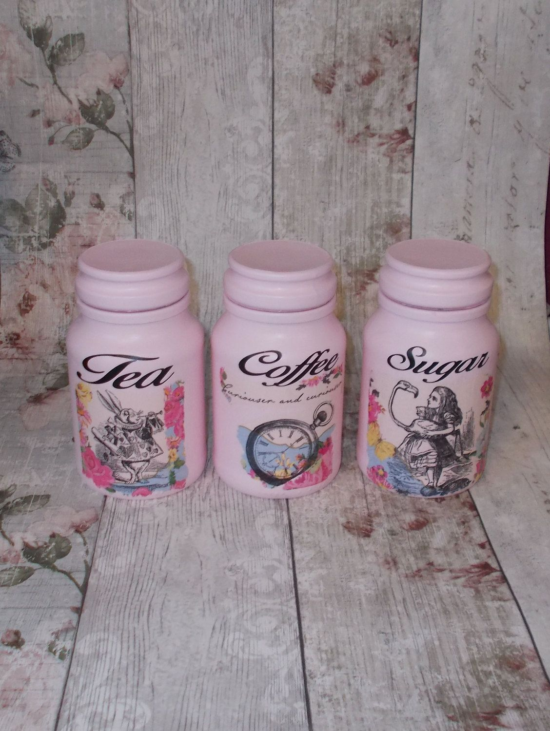 Alice In Wonderland Pink Canister Jars, Tea Coffee Sugar Jars, Set ...