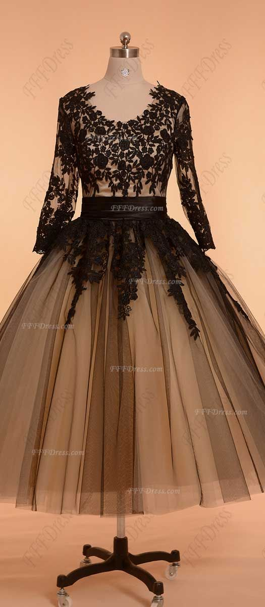 Black Vintage Prom Dresses With Sleeves Ball Gown Formal Dresses