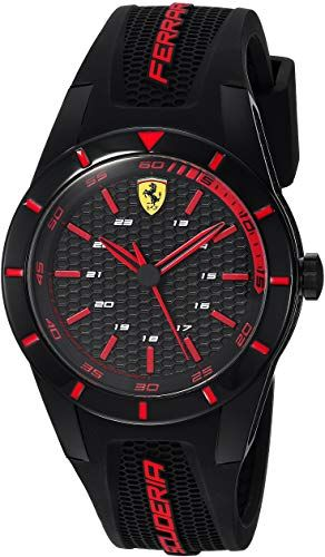 New Ferrari Men's RedRev Stainless Steel Quartz Watch Rubber Strap, Black, 19 (Model: 840004) online #newferrari