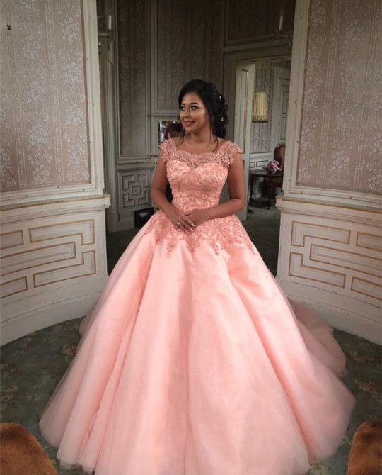 Modest Peach Ball Gowns Quinceanera Dress With Lace Cap Sleeves,My ...