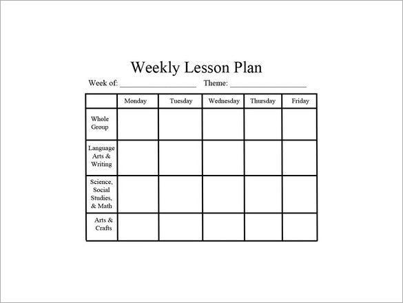 Weekly-Preschool-Lesson-Plan-PDF-Downloadjpg (585×440) School - daily lesson plan template word