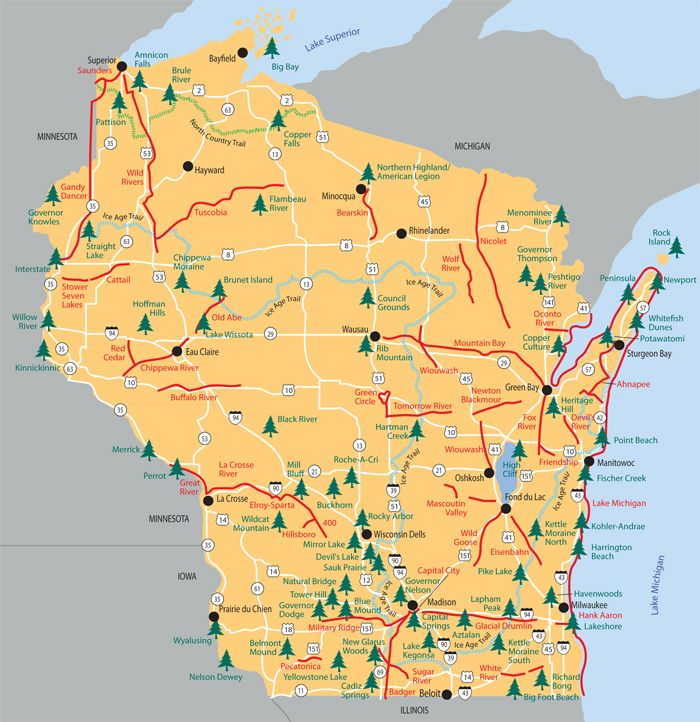 Parks, forests and recreation trails in WI Wisconsin