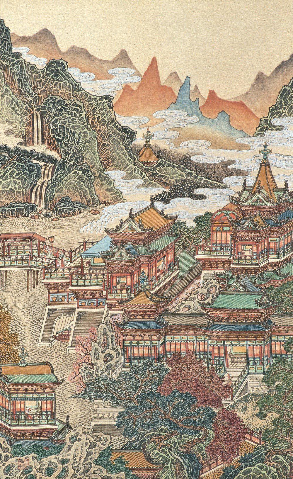 长安月 — Traditional Chinese painting by 黄秋园Huang Qiuyuan....