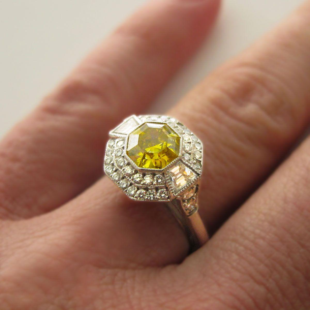 Yellow Diamond Antique Engagement Rings