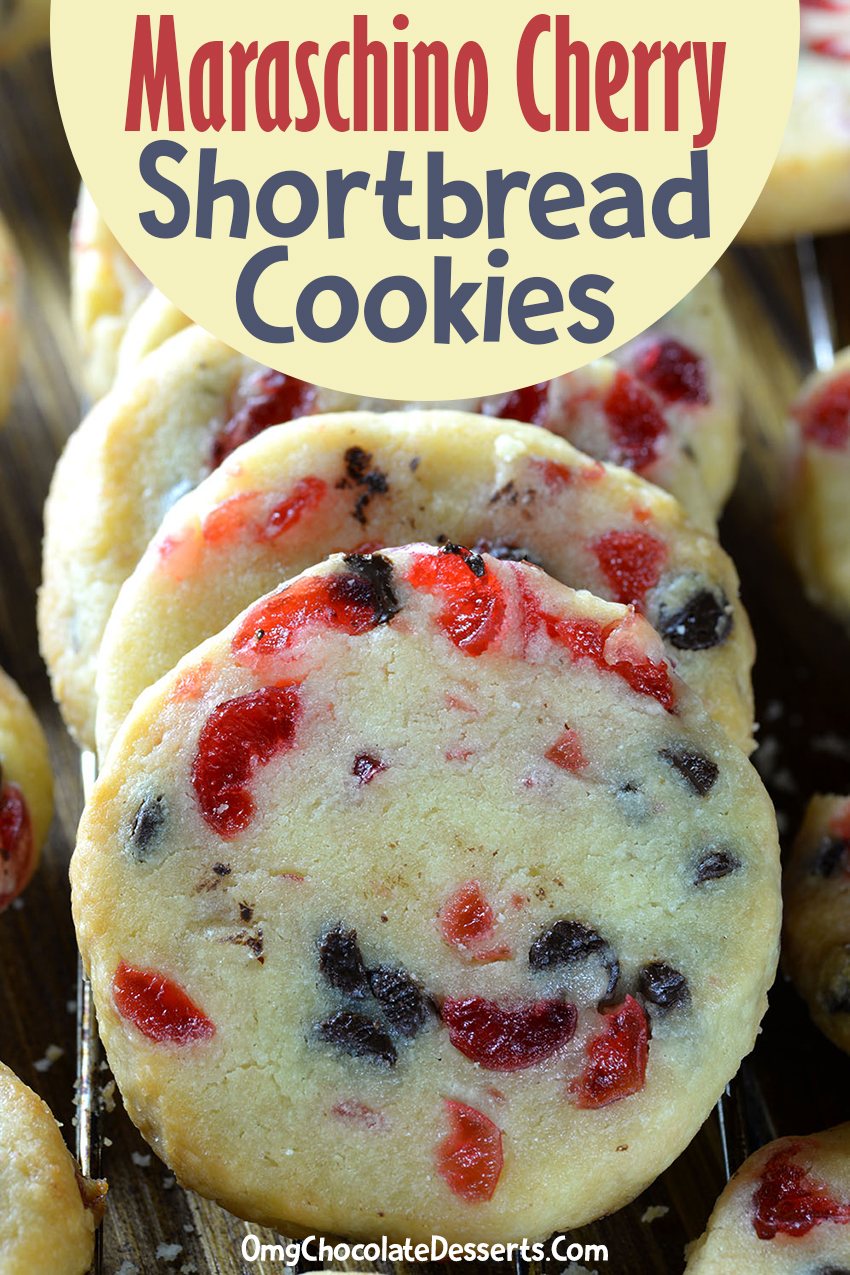 Delightful shortbread cookies with maraschino cherries and chocolate chips will become one of your favorite holiday cookies with the red and green cherries!