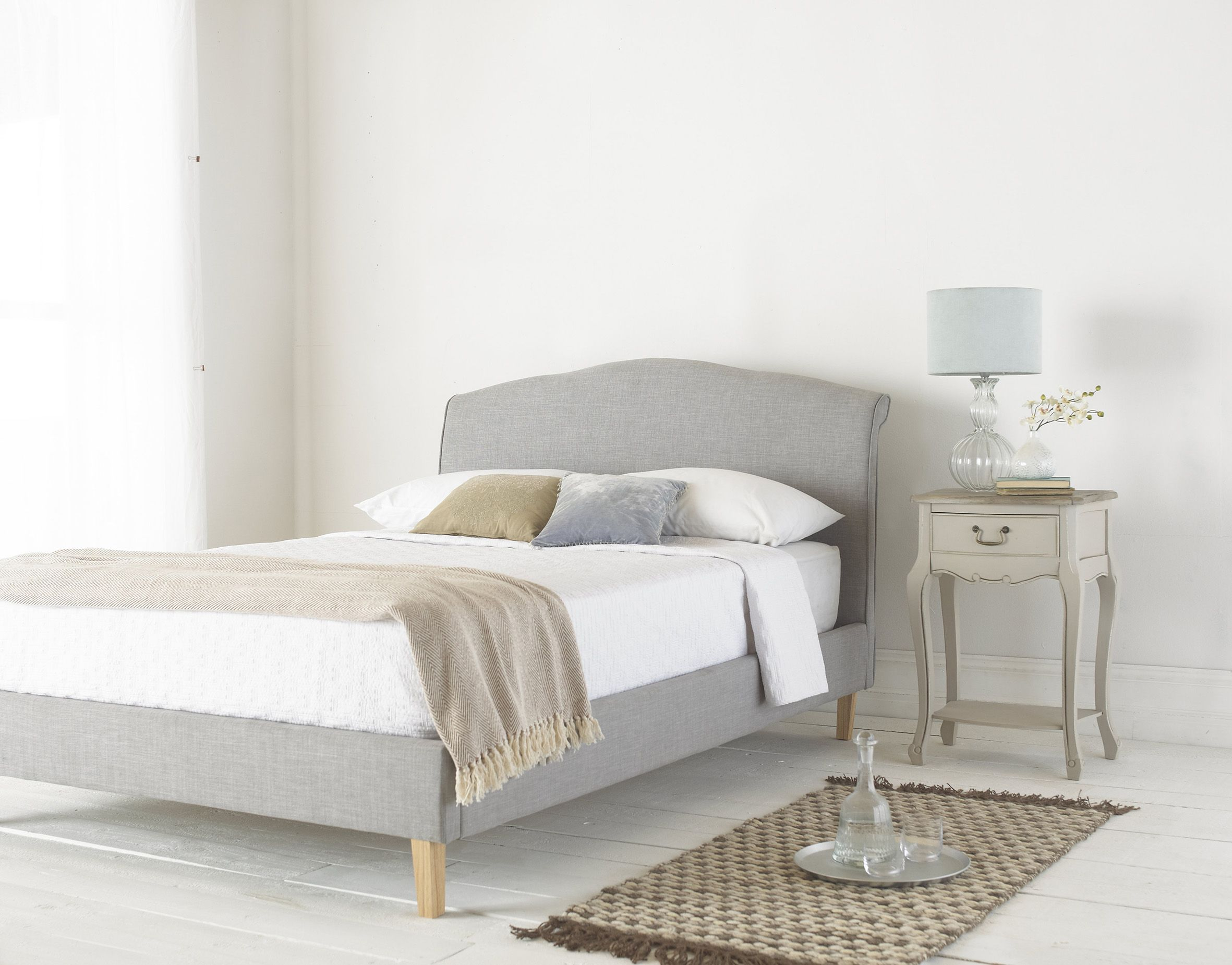 Shanghai Grey Upholstered Bed With Scroll Back Headboard Solid
