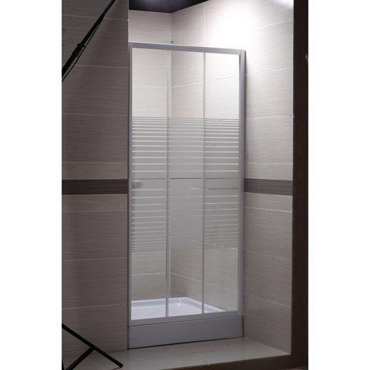 Porte de douche coulissante Primo verre sérigraphié blanc 100 cm - Peindre Un Radiateur Electrique
