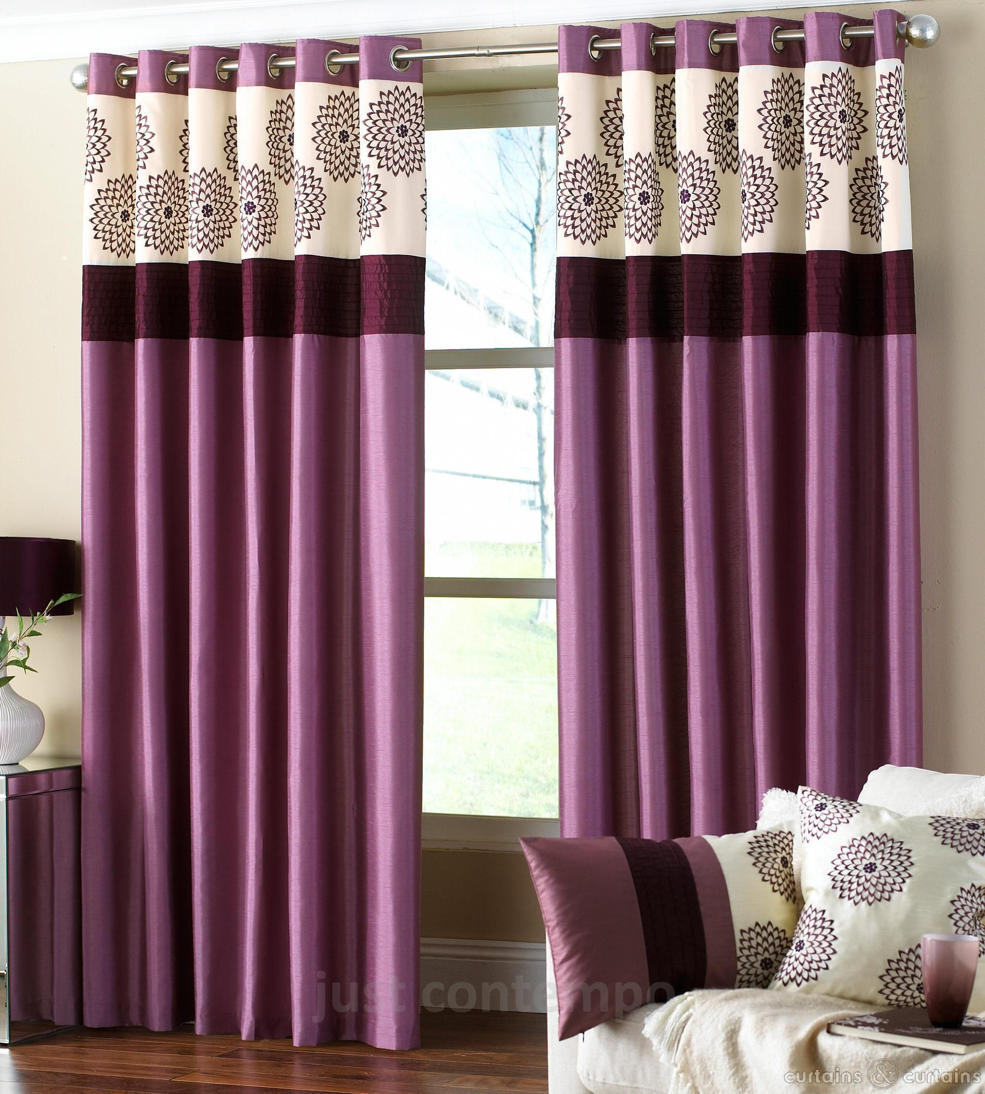 Clarimont Purple Plum Designer Lined Curtains | Plum purple