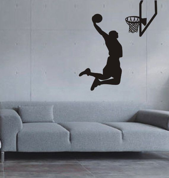 Large--Easy instant decoration wall sticker wall mural Sport Basketball-Basketball shoot:Amazon:Home & Kitchen