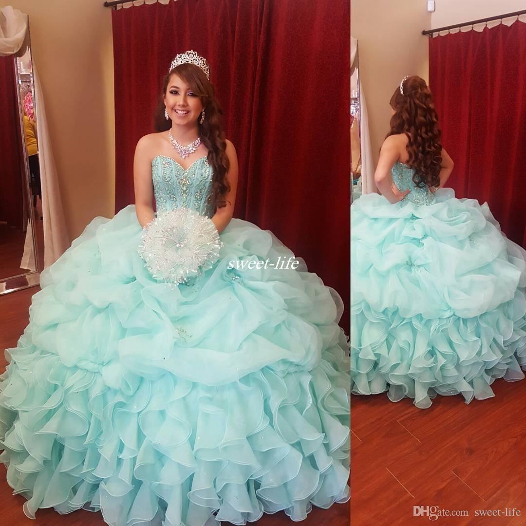 Elegant Mint Green Ball Gown Girls Quinceanera Dresses Puffy Organza ...