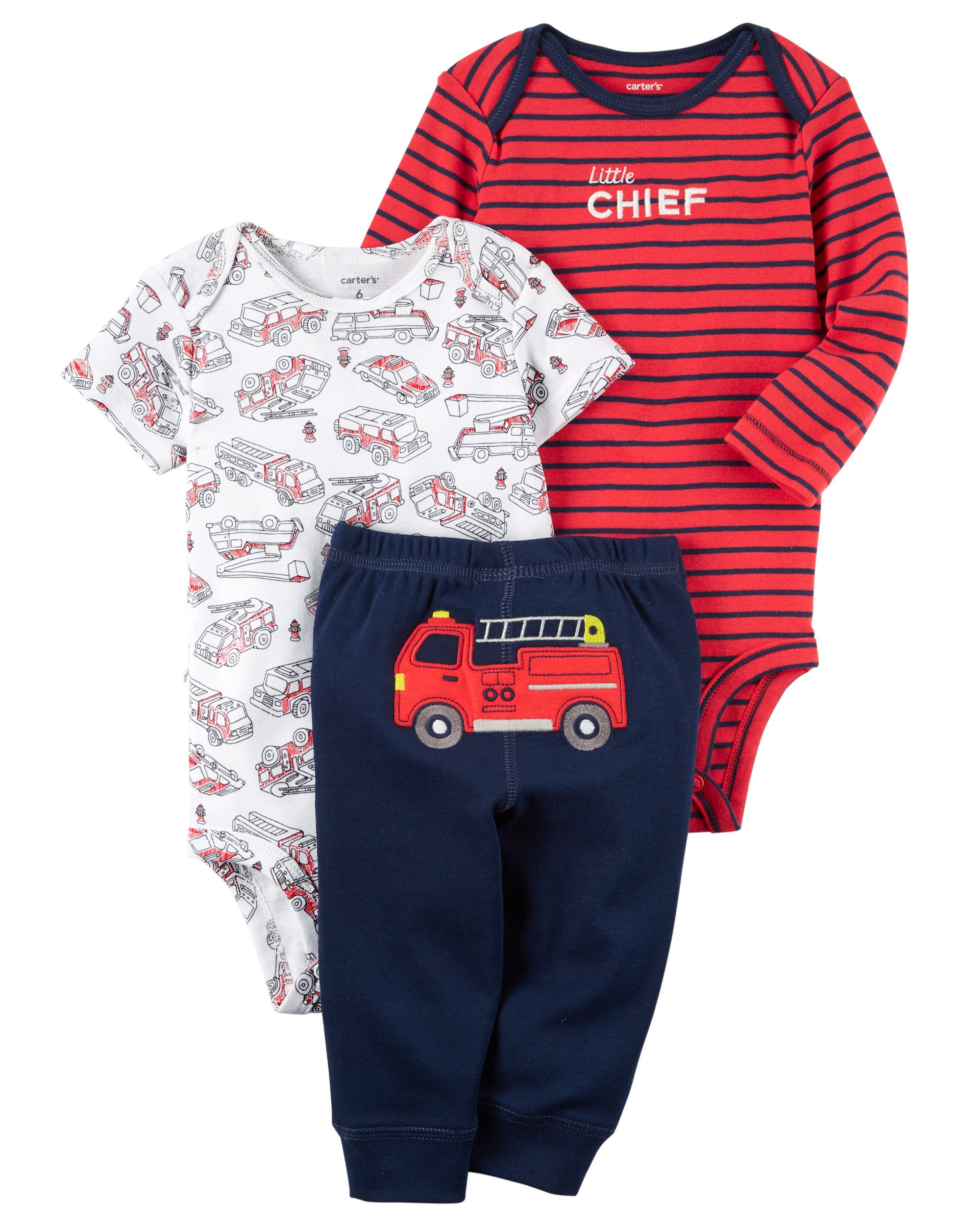 1506b48b2 Featuring a cute little firetruck on the bottom and two coordinating  bodysuits, this babysoft cotton set lets him mix and match with essential  pants.