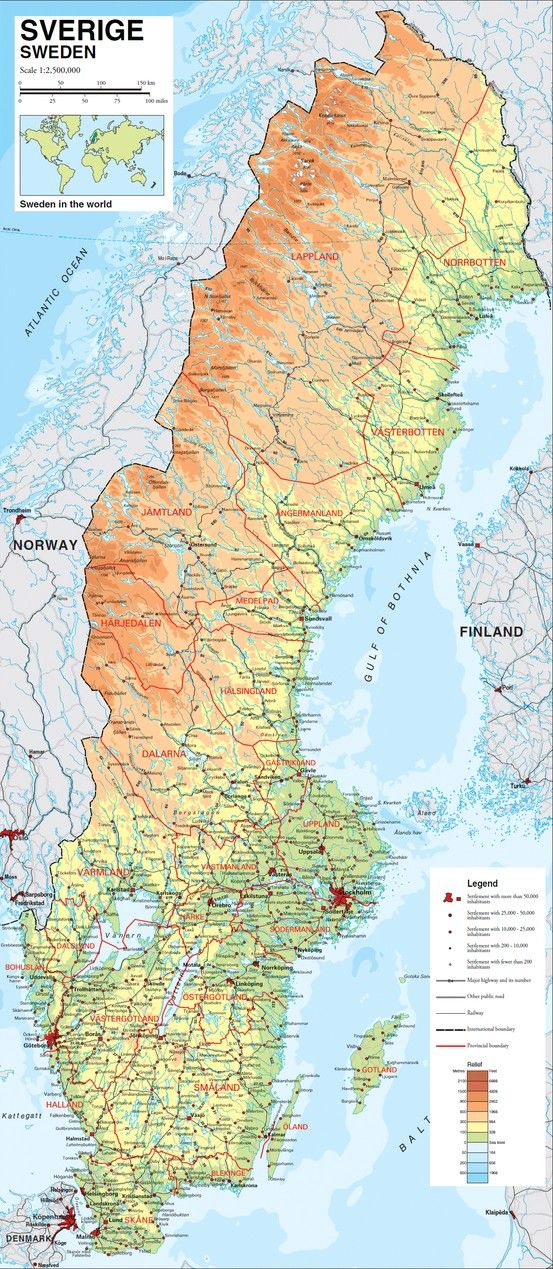 Karta Europa Pa Svenska.Map Of Sweden Karta Av Sverige Sverige Sverige Geografi Svenska