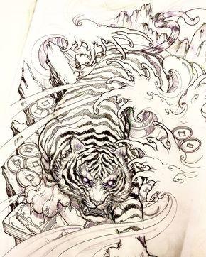 Tiger Sketch Tiger Sketch Illustration Drawing Irezumi Tattoo Asiantattoo Asianink Chron Japanese Tiger Tattoo Tiger Tattoo Sleeve Tiger Tattoo Design
