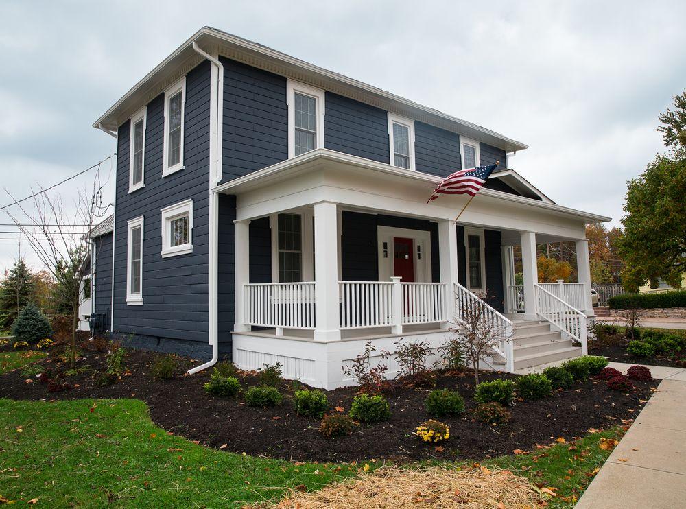 Navy Blue Siding Houses With Slate Grey Siding And Blue