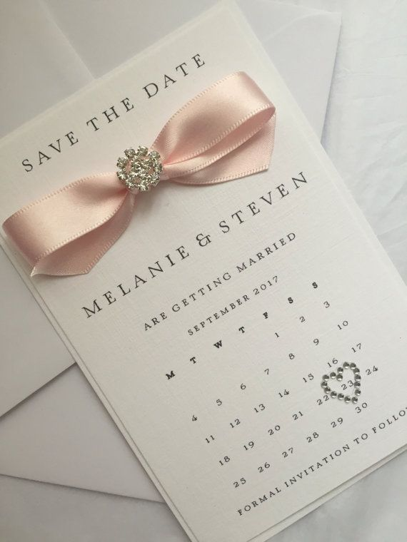 Personalised Calendar Save The Date Handmade Wedding Stationery Invite Card