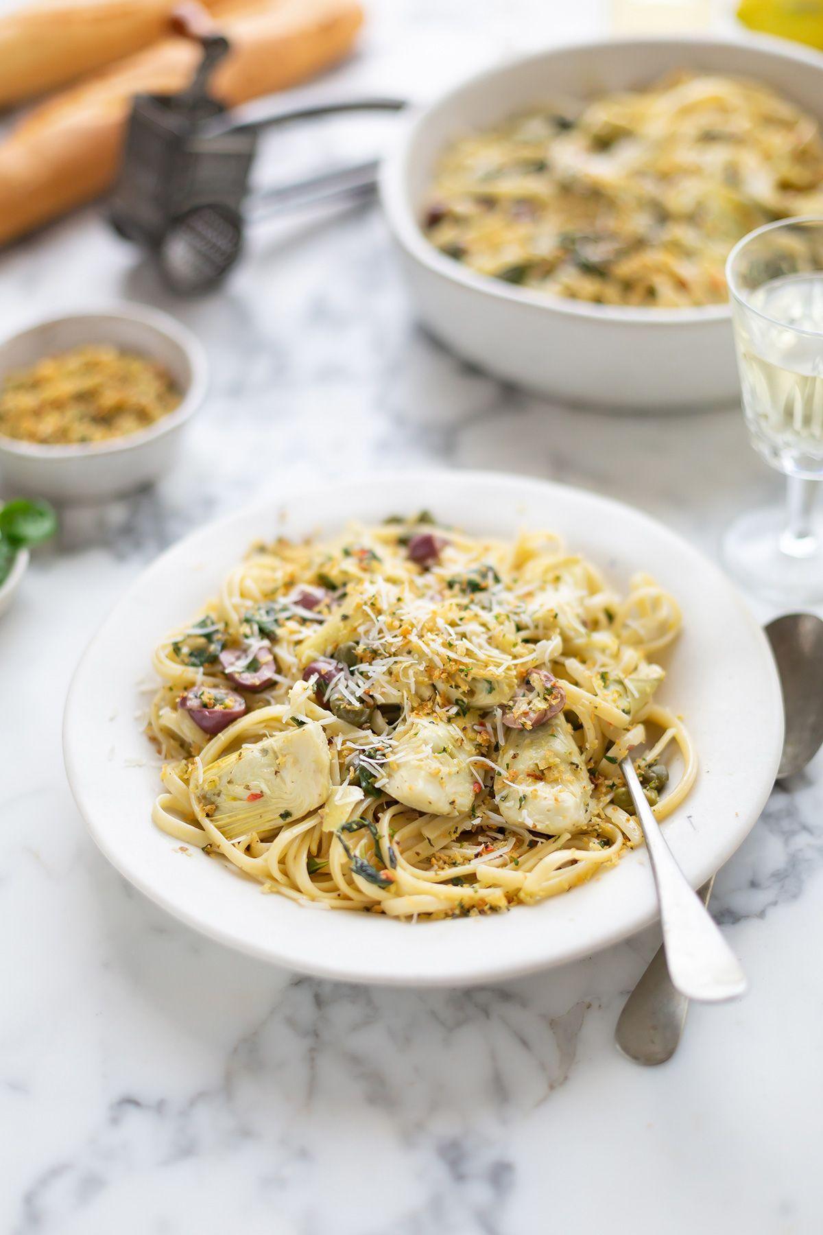 Creamy Pasta With Artichokes Spinach Capers Recipe Drizzle And Dip Recipe Creamy Pasta Capers Recipe Recipes