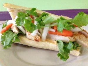Hello! We hope everyone is having a good day. We're running a little behind, so let me tell you about our lunch specials this week. Our first special is a Grilled Chicken Banh Mi; Marinated Chicken placed on a toasted French Baquette with sweet and spicy Pickled Vegetables, Sweet Onions, Lettuce, Cilantro, and finished with a homemade Sriracha Mayo.