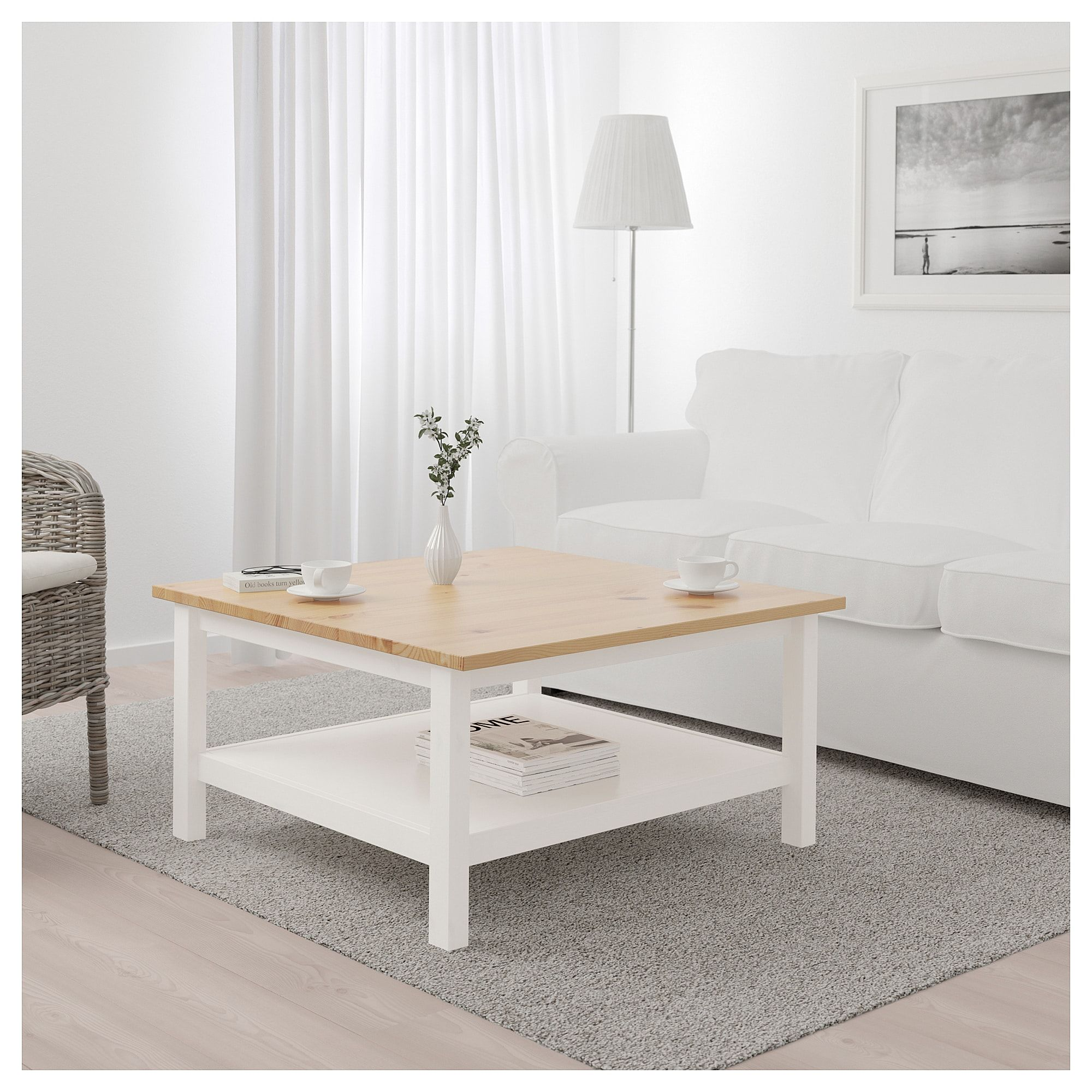 Hemnes Coffee Table White Stain Light Brown 90x90 Cm Ikea Wohnzimmer Braun Wohnzimmermöbel Wohnzimmertisch