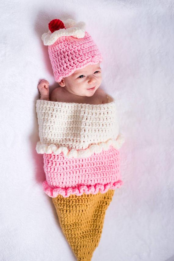 bfb20b584 Crochet ice cream cone cocoon -- newborn photo prop | Team Board ...