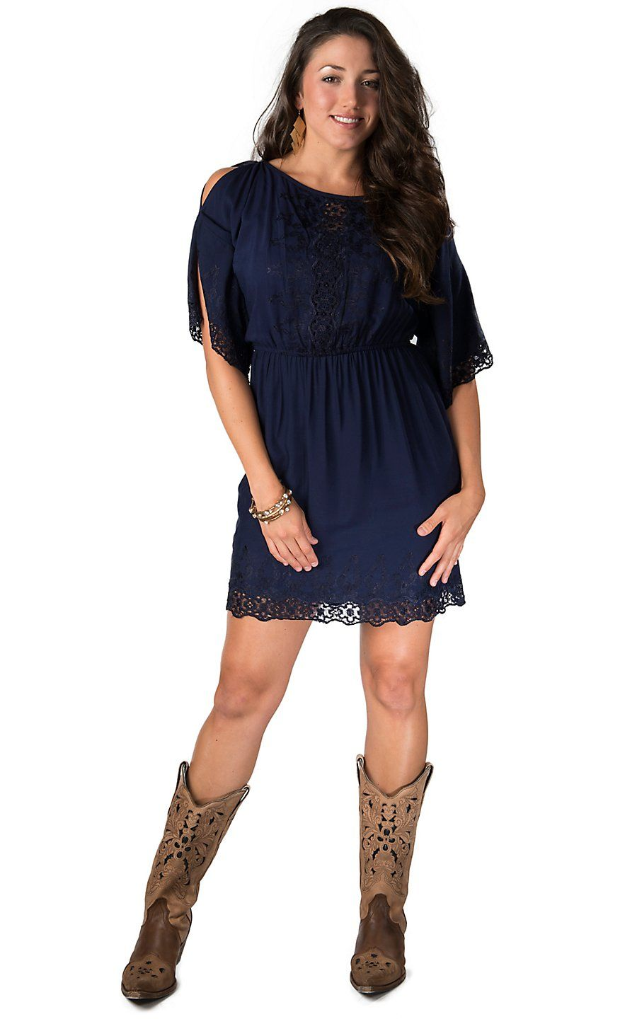 e08d65acaa520 Angie Women s Navy Lace Cold Shoulder 3 4 Sleeve Dress