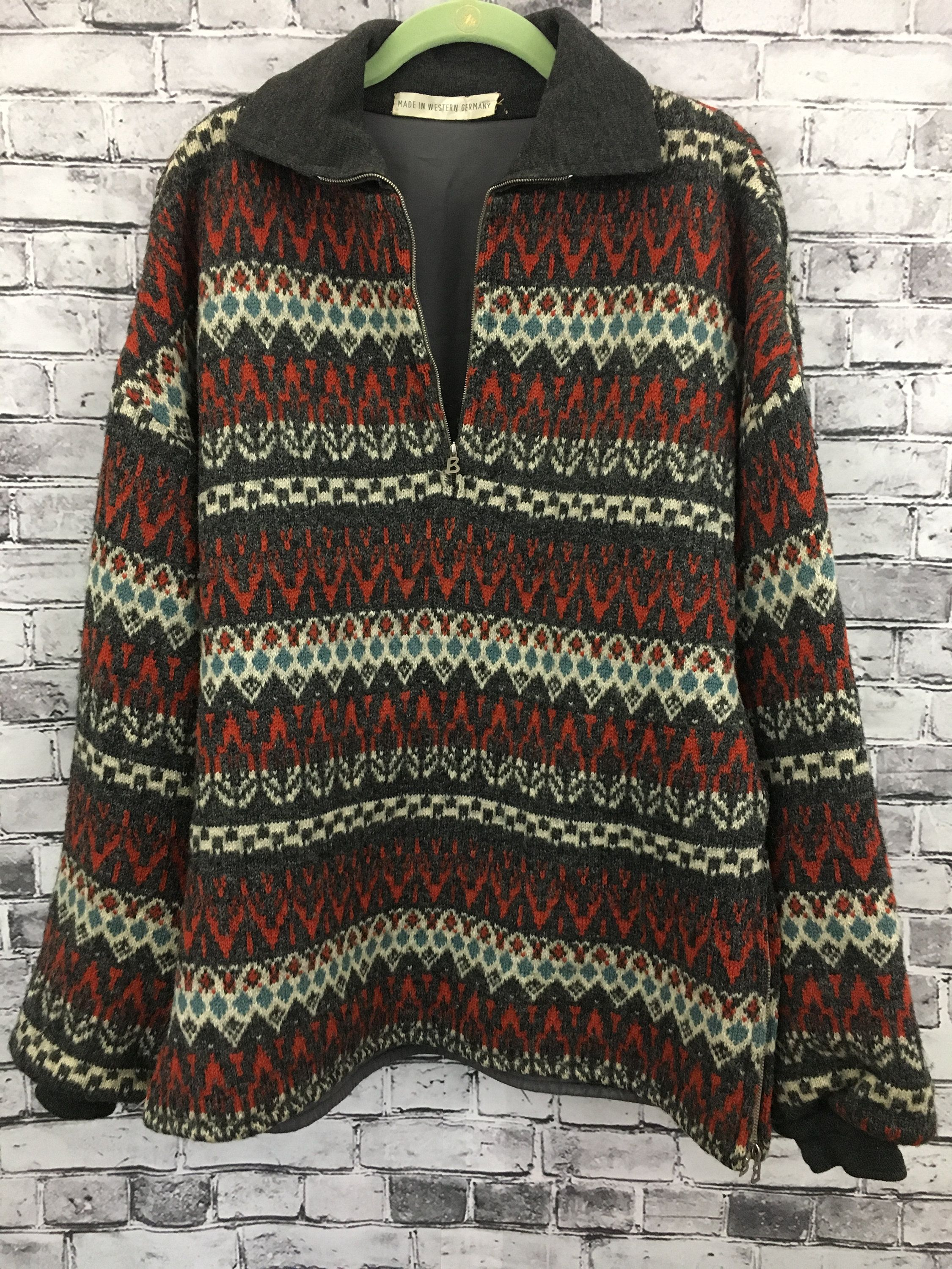 Vintage Lined Wool Nordic Style Quarter Zip Ski Sweater Winter Made