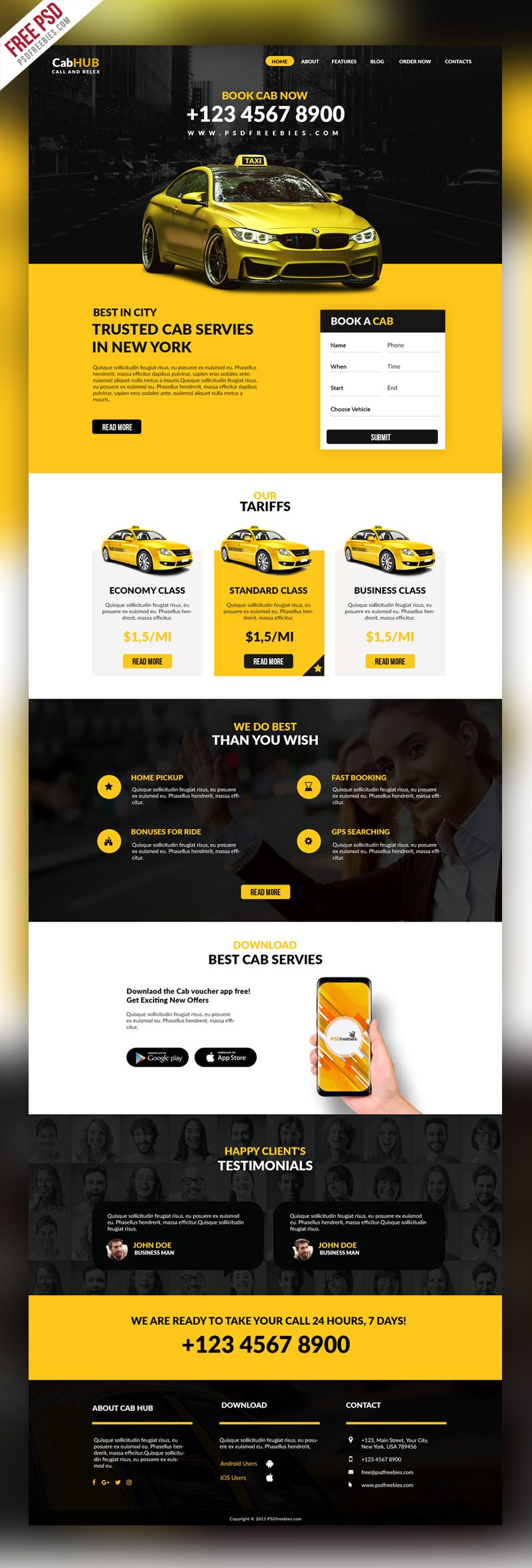 Taxi Cab Service Company Website Template PSD | Free Web Templates