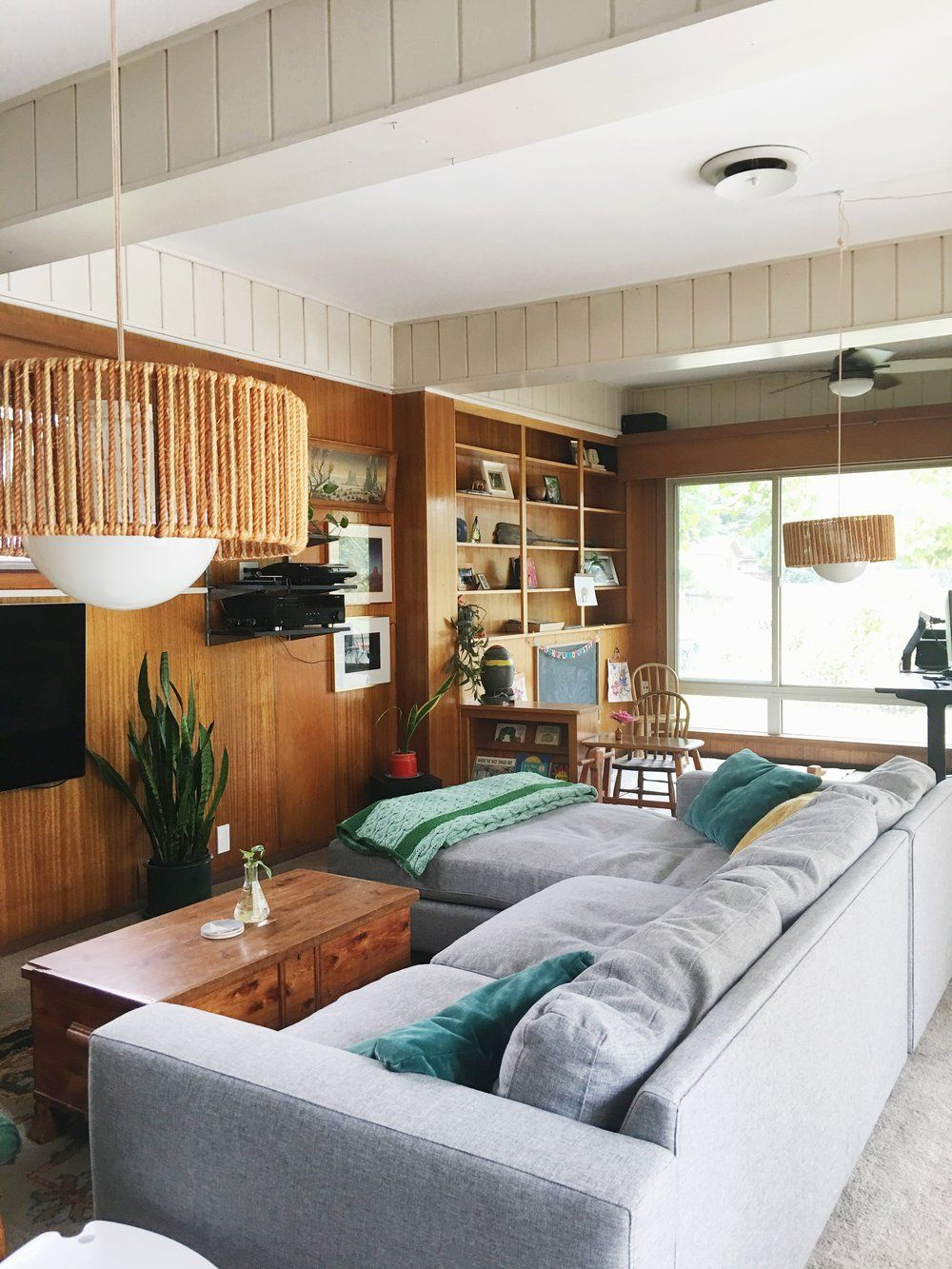 House Wood Paneling: Cozy & Collected Mid-Century Modern Den: Embracing Dated