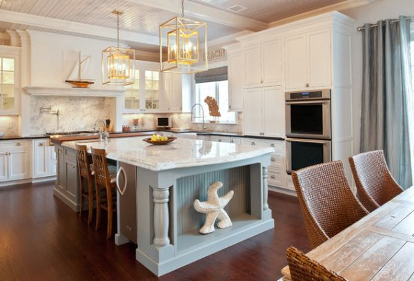 30 Kitchen Islands With Tables A Simple But Very Clever Combo Nautical Kitchen Decor Coastal Kitchen Design Nautical Kitchen
