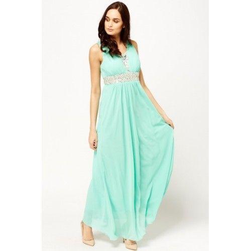 Vestido largo verde agua