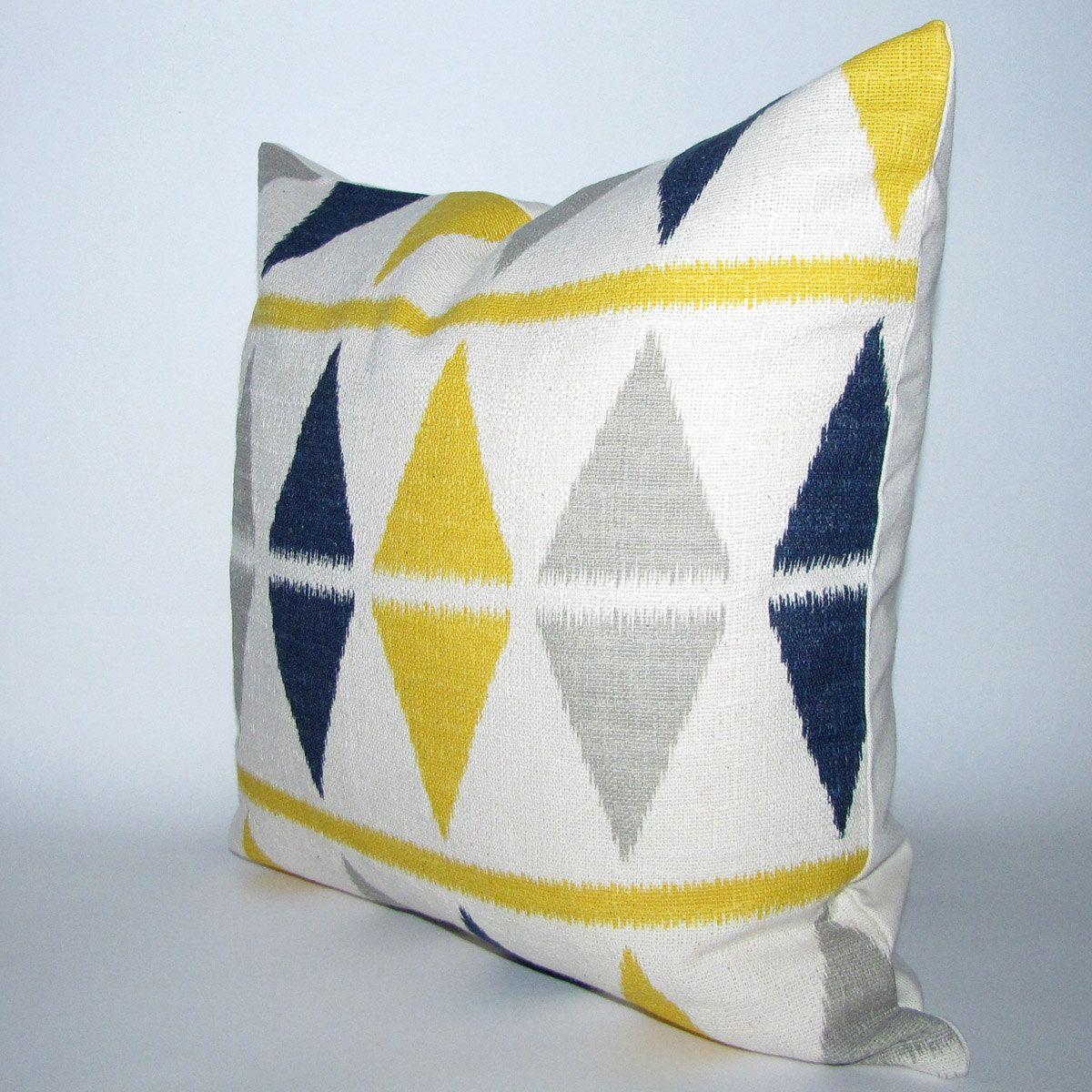 Etsy Yellow Throw Pillow : BLUE and YELLOW pillow cover - ikat chevron print - 16x16. $22.00, via Etsy. ?? Pinterest ...